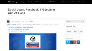 Social Login: Facebook & Google in One API Call - Stormpath