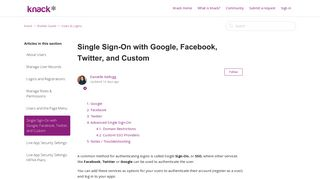 Single Sign-On with Google, Facebook, Twitter, and Custom – Knack