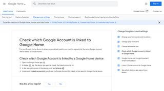 Check which Google Account is linked to Google Home - Google ...