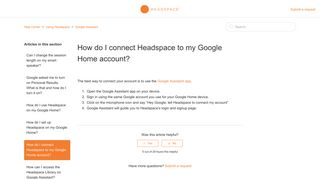 How do I connect Headspace to my Google Home account? – Help ...
