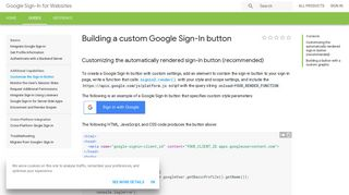 Building a custom Google Sign-In button   Google Sign-In for Websites ...