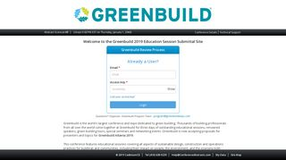 Submitter Login Page - Call for Proposals - Greenbuild 2019