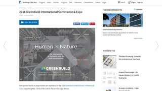 2018 Greenbuild International Conference & Expo | ArchDaily