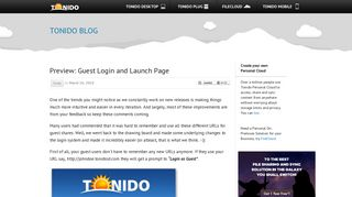 Preview: Guest Login and Launch Page - Tonido