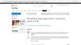 Not getting login page when I connect to public wifi - Microsoft