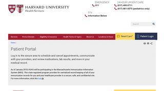 Patient Portal | Harvard University Health Services