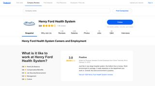 Henry Ford Health System Careers and Employment | Indeed.com
