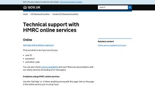 Technical support with HMRC online services - GOV.UK