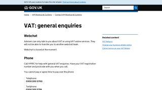 VAT: general enquiries - GOV.UK