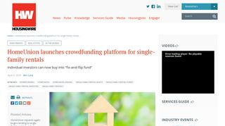 HomeUnion launches crowdfunding platform for single-family rentals ...