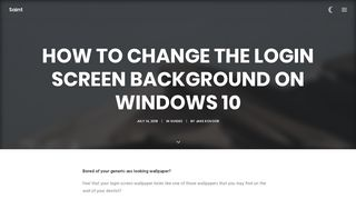 Change the Login Screen Background on Windows 10 - Saint