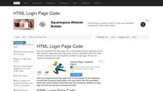 HTML Login Page Code - RoseIndia