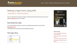 Making a login form using PHP - HTML Form Guide