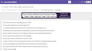 A Simple HTML Login page using JavaScript | DaniWeb