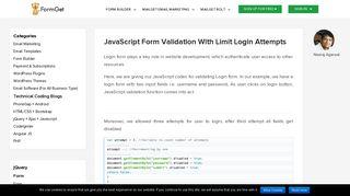 JavaScript Login Form Validation | FormGet