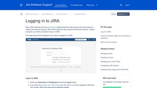 Logging in to JIRA - Atlassian Documentation