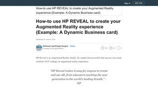 How-to use HP REVEAL to create your Augmented Reality experience ...