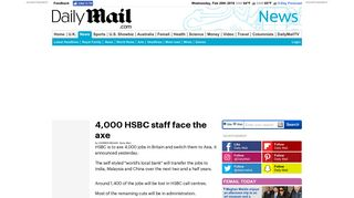 4,000 HSBC staff face the axe   Daily Mail Online
