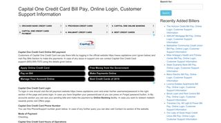 Capital One Credit Card Bill Pay, Online Login, Customer Support ...