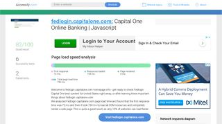 Access fedlogin.capitalone.com. Capital One Online Banking   Javascript