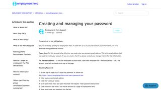 Creating and managing your password - employment hero support