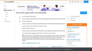 Azure AD Logout URL not redirecting - Stack Overflow