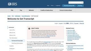 Get Transcript   Internal Revenue Service - IRS.gov