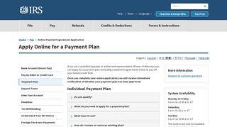 Online Payment Agreement Application   Internal Revenue ... - IRS.gov