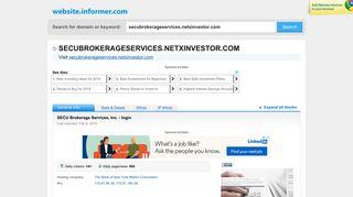 secubrokerageservices.netxinvestor.com at WI ... - Website Informer