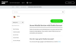 Access Mozilla Services with Firefox Account   Mozilla Support