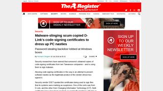 Malware-slinging scum copied D-Link's code-signing certificates to ...