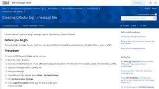 Creating QRadar login message file - IBM