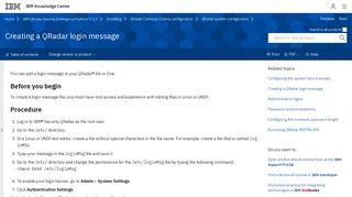 Creating a QRadar login message - IBM