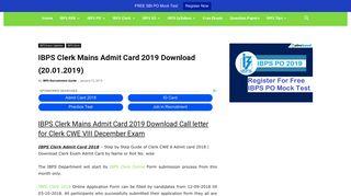IBPS Clerk Mains Admit Card 2019 Download (20.01.2019)