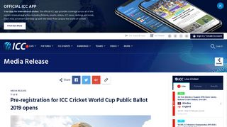 Pre-registration for ICC Cricket World Cup Public Ballot 2019 opens