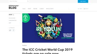 The ICC Cricket World Cup 2019 tickets are on sale now ...