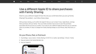 Use a different Apple ID to share purchases with Family Sharing ...