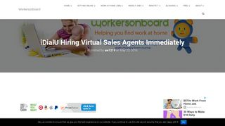 iDialU Hiring Virtual Sales Agents Immediately - Workersonboard