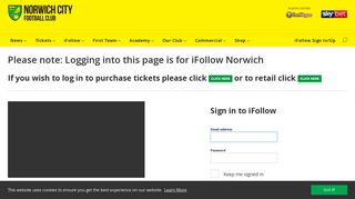 iFollow Sign In/Up - Norwich City