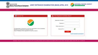 Registered Candidate Sign In - JEE(Main) 2019