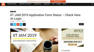 IIT JAM 2019 Application Form Status – Check Here At Login ...