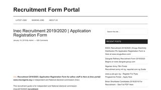Inec Recruitment 2019/2020   Application Registration Form ...