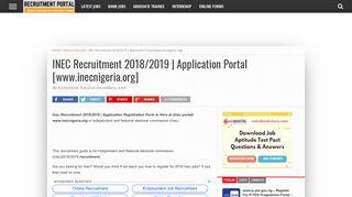 INEC Recruitment 2018/2019   Application Portal [www.inecnigeria.org]