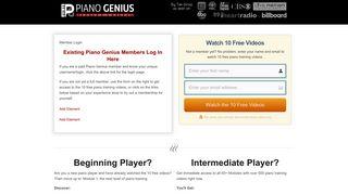 Member Login - Piano Genius