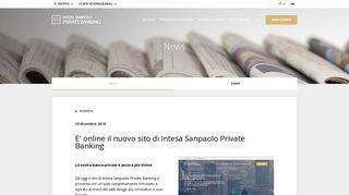 E' online il nuovo sito di Intesa Sanpaolo Private Banking