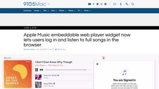 Apple Music embeddable web player widget now lets users log in and ...