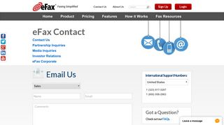 eFax®   Contact Our Customer Service Department
