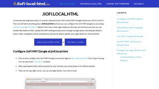 JIOFI.LOCAL.HTML Router Login Password Username (Check Usage!)