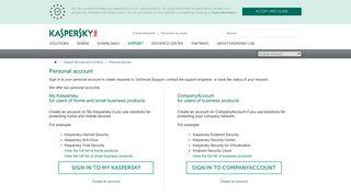 Personal account - Kaspersky support - Kaspersky Lab