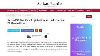 Kerala PSC One Time Registration - KPSC Thulasi Login & Registration
